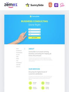 Developed by professionals SunnySide HTML Template will be a reliable landing page website template for design companies. Web Design Software, Responsive Web Design, Portfolio Web Design, Portfolio Website, Html Templates, Page Template, Business Website Templates, Website Home Page, App Landing Page