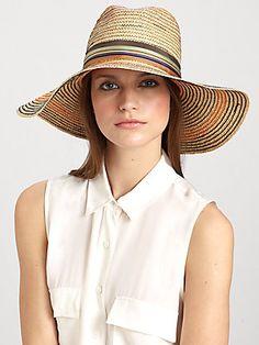 Lola Stop & Go Wide-Brimmed Striped Raffia Hat