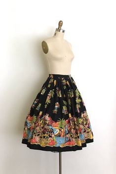 vintage 1950s skirt 50s novelty Hawaiian border print skirt
