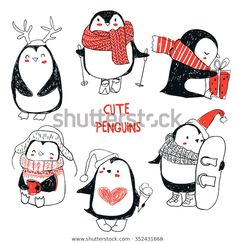 Best Penguin Illustrations, Royalty-Free Vector Graphics & Clip Art set with cute penguins vector art illustration Pinguin Illustration, Illustration Mignonne, Illustration Noel, Winter Illustration, Christmas Illustration, Penguin Love, Cute Penguins, Christmas Drawing, Christmas Art