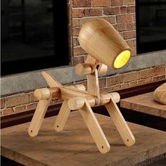 Wood Dog Kids Room Table Lamp Animal Collection Bedroom Bedside Night Light Desk #Generic #Modern