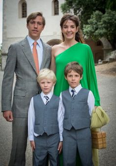 Prince Louis and Princess Tessy of Luxembourg with their children  Prince Gabriel (R) and Prince Noah after the Christening ceremony of Princess Amalia at the Saint Ferreol Chapel in Lorgues, France on 12.07.2014