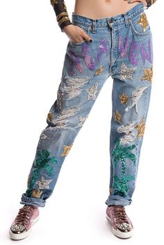 Image of HEAVEN HAND-SEQUINNED JEANS