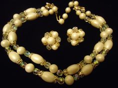 Vintage White 2 Strand Necklace Earring Set by MartiniMermaid, $39.88