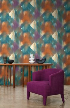 Colorful Jewel Tone Layered Ogee wallpaper. From Wallquest's L'Atelier de Paris Collection.