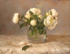 Travis Schlaht 'White Peonies with Leaf' 2007 oil probably on linen by Plum leaves, via Flickr