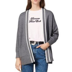 Sandro Alize Striped-Trim Cardigan Coat Fringe Coats, Plaid Coat, Double Breasted Coat, Winter Wardrobe, Sandro, Simple Dresses, Pleated Skirt, Casual Chic, Coats For Women
