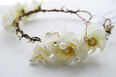 Bridal flower crown floral crown Rustic by WildRoseAndSparrow