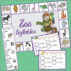 Consolidate identifying syllables in words with these 4 activities based on a zoo theme. Included in the pack is a syllable game, 2 worksheets and a matching activity