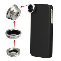 iPhone case w lenses. Iphone 4s, Iphone Cases, Camera Lens, Macro Camera, Iphone Accessories, Wide Angle, Cooking Timer, Lenses, Smartphone