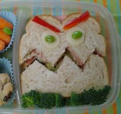 fun food kids bento snacks toast bread monster face