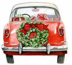 we are having a Vintage Christmas this year with our first REAL tree decorated with popcorn garland :)! Love this vintage holiday scene! Christmas Cars, Noel Christmas, Retro Christmas, Winter Christmas, All Things Christmas, Christmas Shopping, Xmas, Vintage Christmas Images, Vintage Holiday