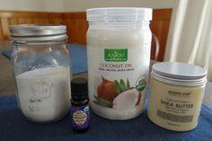 DIY Deodorant:     2 tbsp. Arrowroot Powder  1 tbsp. Baking Soda  1 tbsp. Coconut Oil  1 tbsp. Shea Butter  10 drops Lavender Essential Oil