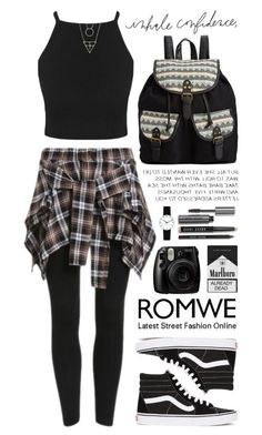 """Romwe 3"" by scarlett-morwenna ❤ liked on Polyvore featuring Vans, Rampage, Bobbi Brown Cosmetics, Rosendahl, modern, vintage, women's clothing, women's fashion, women and female"