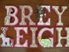 Custom Hand-Painted Wood Letters for Carters Jungle Jill Crib Bedding Set NEW