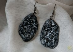 "Art deco Earrings made of polymer clay from the series ""Meteorite fragments"" by Etniika on Etsy"