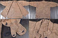 Antique Edo period samurai kusari katabira (chain armor jacket), the kusari is hidden between layers of cloth.