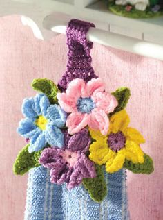 SPRINGTIME Flower Garden Towel Topper/Decor/Crochet Pattern Instructions | eBay