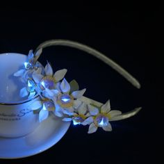 Custom flashing orchid LED light up flower headband - LED hair accessory - Dongguan Duosen Hair Accessory Co.,LTD