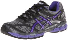 ASICS Women's Gel-Cumulus 16 G-TX Running Shoe,Carbon/Purple/Charcoal,9 M US. Winter-ready running shoe featuring waterproof and breathable GORE-TEX membrane and Snow Rubber outsole traction. FluidRide midsole. Guidance Line flex groove in outsole. Rearfoot and forefoot GEL cushioning. ComforDry moisture-wicking, anti-odor sockliner. Gender-specific cushioning.