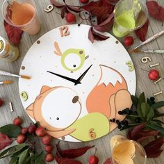Clock Art, Diy Clock, Clock For Kids, Art For Kids, Metal Crafts, Wood Crafts, Cute Crafts, Diy And Crafts, Wall Clock Nursery