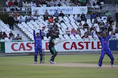Mark Boucher and Robin Peterson go up for an appeal against the Dolphins batsman Cameron Delport at Newlands in 2011. Photo taken by Tim Dale Lace