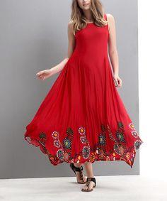 Look what I found on #zulily! Red Garden Handkerchief Maxi Dress #zulilyfinds