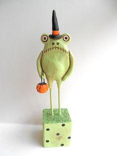 Green Halloween Frog clay Folk Art Sculpture by indigotwin on Etsy