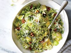 Shaved Brussel Sprout Salad - Chef Jonathan Waxman taught me how to make this fall salad many years ago. Riff with the ingredients to find the flavor balance you prefe. Vegetarian Salad Recipes, Salad Recipes For Dinner, Healthy Recipes, Healthy Snacks, Simple Recipes, Eating Healthy, Side Dishes For Ham, Best Side Dishes, Side Dish Recipes