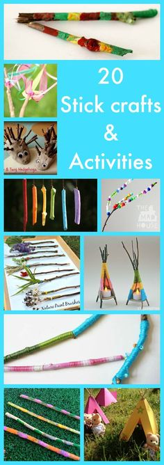 20 stick crafts and activities for kids.  Nature crafts are great and these are super fun and perfect for getting crafty with your kids.