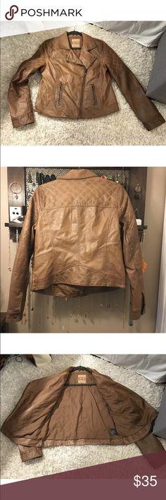 BB DAKOTA vegan leather jacket cognac color large BB DAKOTA brand vegan/fake leather jacket. Brown/tan/cognac color. Quilted detailing. Lined. BB Dakota Jackets & Coats