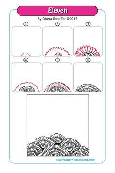 Eleven Tangle, Zentangle Pattern by Diana Schaffer Dibujos Zentangle Art, Zentangle Drawings, Doodles Zentangles, Doodle Drawings, Easy Drawings, Zen Doodle Patterns, Doodle Art Designs, Zentangle Patterns, Op Art