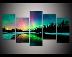 Cheap decorative glass painting, Buy Quality decor directly from China decorative art painting Suppliers: Wall Canvas Prints Art Poster Colorful Aurora Borealis Art Painting Canvas Quadros Home Decor Art Prints Painting Multi Canvas Painting, Multiple Canvas Paintings, 5 Piece Canvas Art, Canvas Art Prints, Painting Prints, Canvas Wall Art, Framed Canvas, Canvas Painting Nature, Painting Abstract