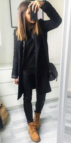 How to Wear Timberland Boots: Top 35 Outfit Ideas - Brenda O. - How to Wear Timberland Boots: Top 35 Outfit Ideas - Brenda O. How to Wear Timberland Boots: Top 35 Outfit Ideas - - Preppy Winter Outfits, Winter Coat Outfits, Stylish Outfits, Fall Outfits, Outfits With Boots, Black Outfits, Winter Fashion Boots, Summer Outfit, Dress Winter