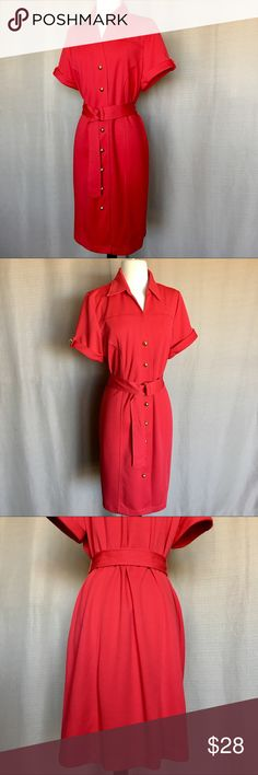 """RED BUTTON DOWN DRESS NWOT in flawless condition. Unlined  Medium heavy,  Strechy Knee length dress.  100%Polyester , Machine wash.    Size 16P.  Look for measurements  Shoulder 16"""".  Bust 42"""".   Waist 40"""".    Length 39"""" BFA Classics Dresses"""