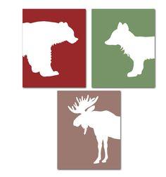 Woodland Nursery Animal Art Prints set of 3 8x10 Bear, Fox, Moose Forest Animals