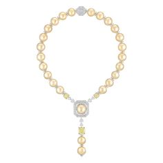 Chanel Perles Royales necklace in white gold and platinum, from the new Les Perles de Chanel collection, set with three cushion-cut yellow d...