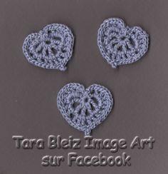 Cœurs en dentelle de coton mauve au crochet, lot de 3. : Autres pièces pour créations par tara-bleiz