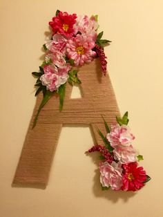 Letter DIY. Beautiful letter A. Birthday girl, A for Adina. DIY cardboard letter, wool letter, flower letter. A. SilviaTsurkan