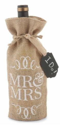 cute Mr. and Mrs. burlap wine bag