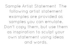 Sample Artist Statement The following artist - Share As Image