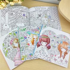 100 Pages Beautiful Flower Girl Antistress Coloring Books For Adults Kids Children Relieve Stress Secret Garden