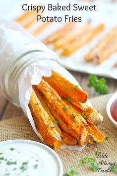 Crispy Baked Sweet Potato Fries-  BEST baked sweet potato fries easy with minimal oil.