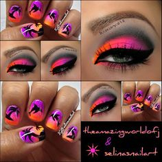 Hello there Beauties  @selinasnailart & me have decided to team up in a makeup matching nail kind of thing  A few weeks ago i saw this breathtaking naildesign of hers and decided to come up with a matchin makeup! We will probably do more of those co-ops in the future  For the makeup i have used: Myo Ultra Bright Orange, Ultra Bright Pink, Purple Passion & Coal Miner.  AVAILABLE AT myomakeup.com Lashes are @houseoflashes Bombshell. Selina used acrylic paint for her nailart, check out d...