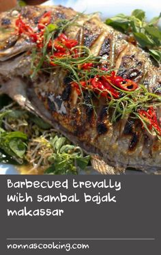 Barbecued trevally with sambal bajak makassar   If you like it hot, you'll love Peter Kuruvita's spicy seafood recipe. While the fish are cooking on the barbecue, prepare the fiery chilli sambal, packed with typical Indonesian flavours.