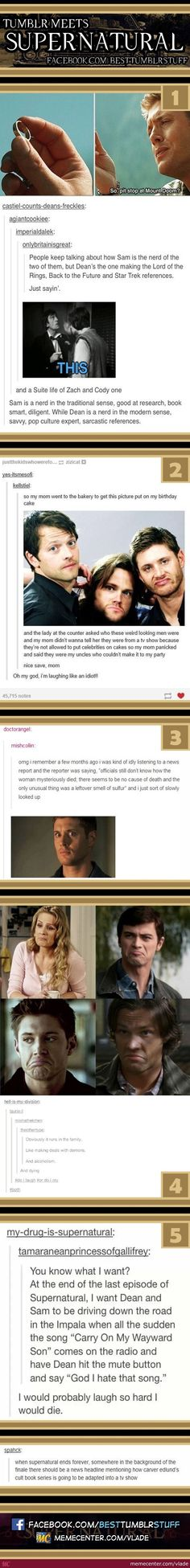 Tumblr Meets Supernatural by vlade - Meme Center. The last two killed me...: