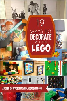 Ready for awesome ways to add color to your life? Check out our Decorating with LEGO for lots of fun ideas! Lego Room Decor, Boys Room Decor, Boy Room, Kids Bedroom, Bedroom Ideas, Boy Bedrooms, Lego Bathroom, Lego Hacks, Lego Decorations
