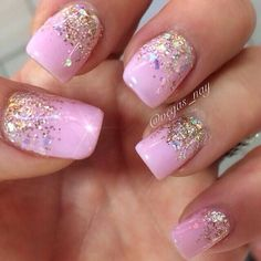 Baby pink cuticle level silver glitter