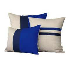 :: NEW SET :: This beautiful set includes (1) 12x16 cobalt, navy and natural linen color block pillow cover, (1) 16x16 striped pillow cover in cobalt, navy and natural linen and (1) 20x20 cobalt, navy and natural linen color block pillow cover. This signature set will make the
