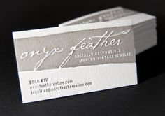 Onyx Feather Business Card      PRODUCTION METHOD  Letterpress    DESIGN  Sagetopia      PRINTING  Sagetopia